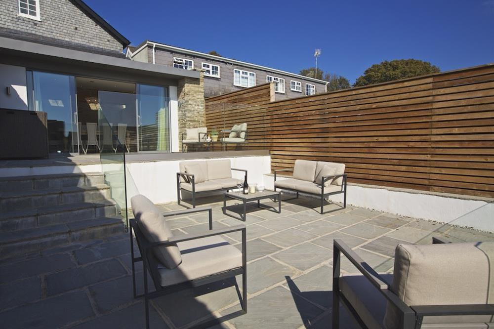 Private three-tiered terrace with tables and chairs at each level (photo 2) at Hillfield Farmhouse in , Hillfield, Dartmouth