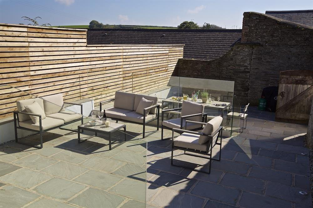 Private three-tiered terrace with tables and chairs at each level (photo 3) at Hillfield Farmhouse in , Hillfield, Dartmouth
