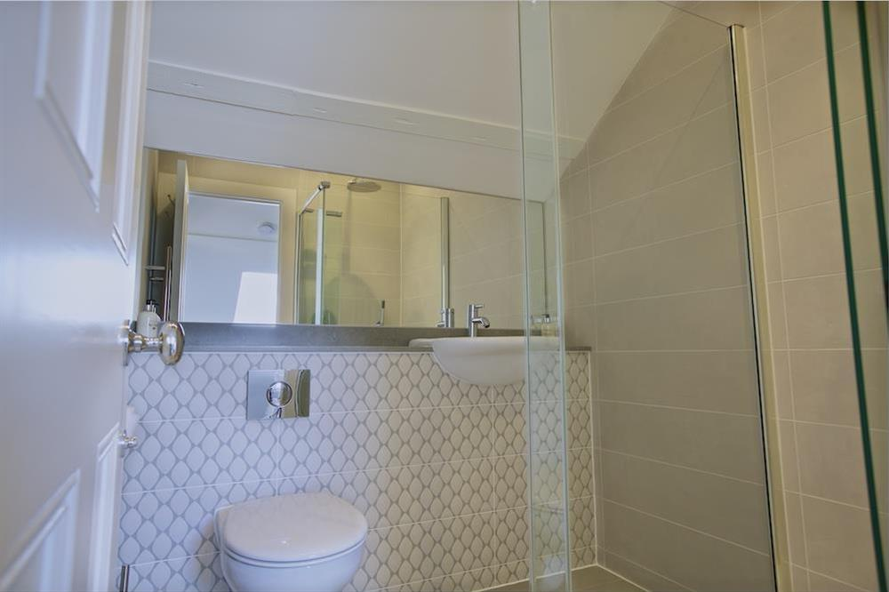 Shower room between the two twin bedrooms at Hillfield Farmhouse in , Hillfield, Dartmouth