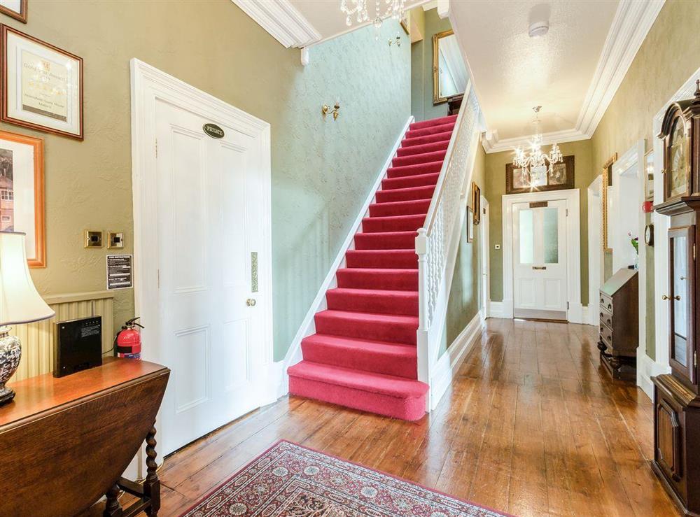 Hallway & stairs at Holmefield House in Darley Dale, near Matlock, Derbyshire