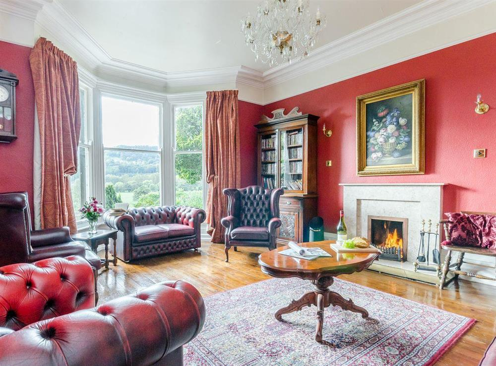 Living room at Holmefield House in Darley Dale, near Matlock, Derbyshire