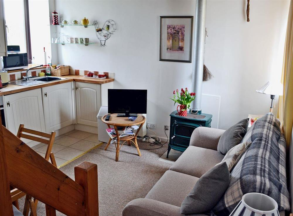 Open plan living space with gas wood burner at Honeysuckle Cottage in Mold, Clwyd