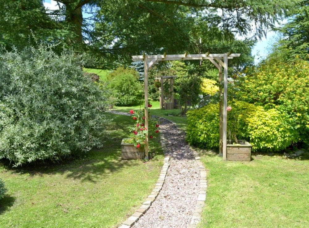 Shared extensive gardens at Honeysuckle Cottage in Mold, Clwyd