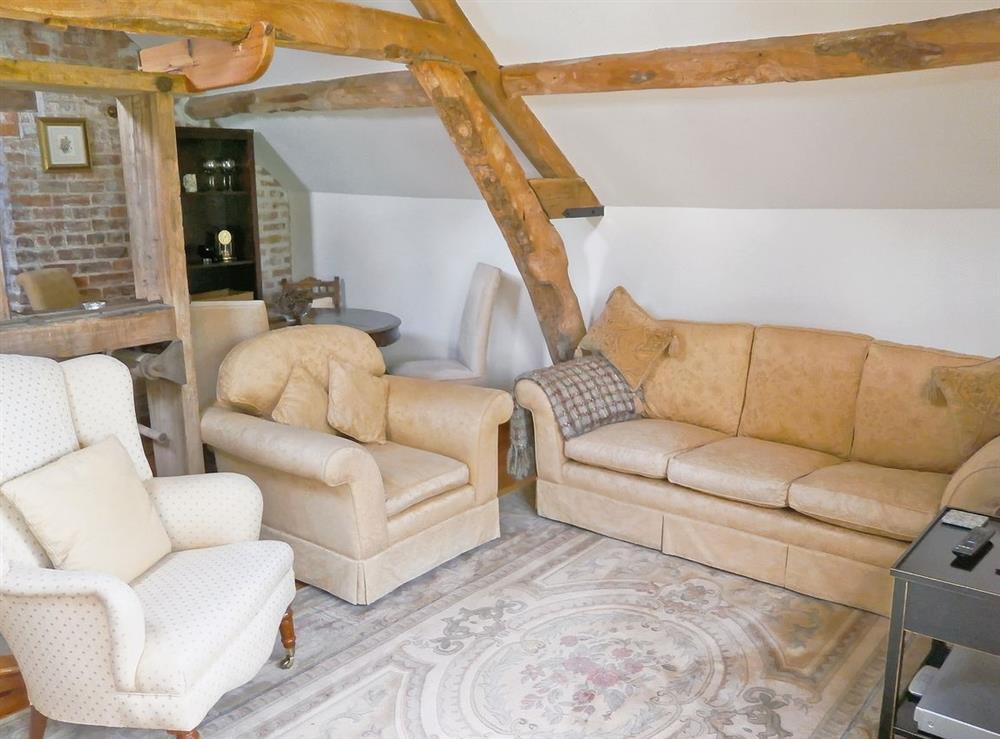 Living room at Hop Cottage in Coddington, near Ledbury, Herefordshire