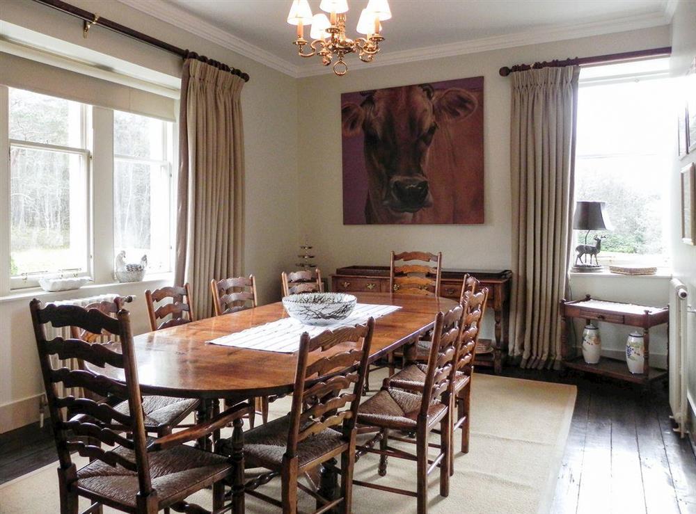 Dining room at Inveroykel Lodge in Rosehall, near Bonar Bridge, Highlands, Ross-Shire