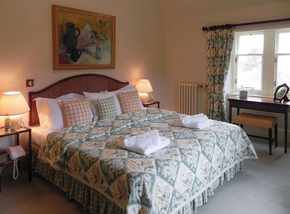 Double bedroom at Inveroykel Lodge in Rosehall, near Bonar Bridge, Highlands, Ross-Shire