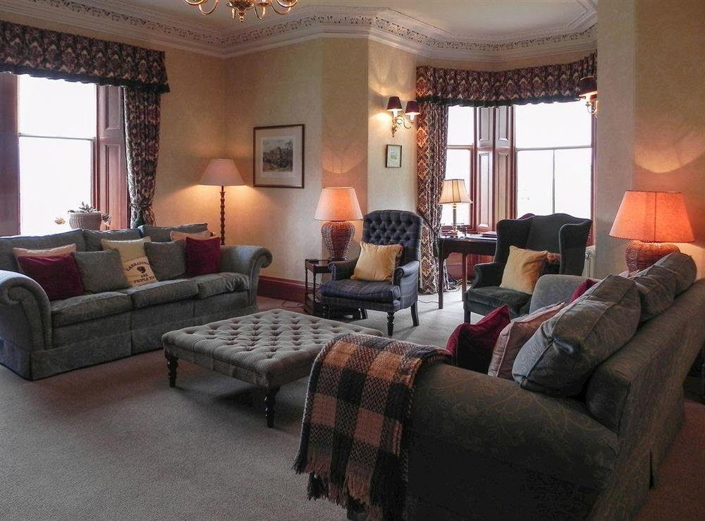 Nicely furnished living room at Inveroykel Lodge in Rosehall, near Bonar Bridge, Highlands, Ross-Shire