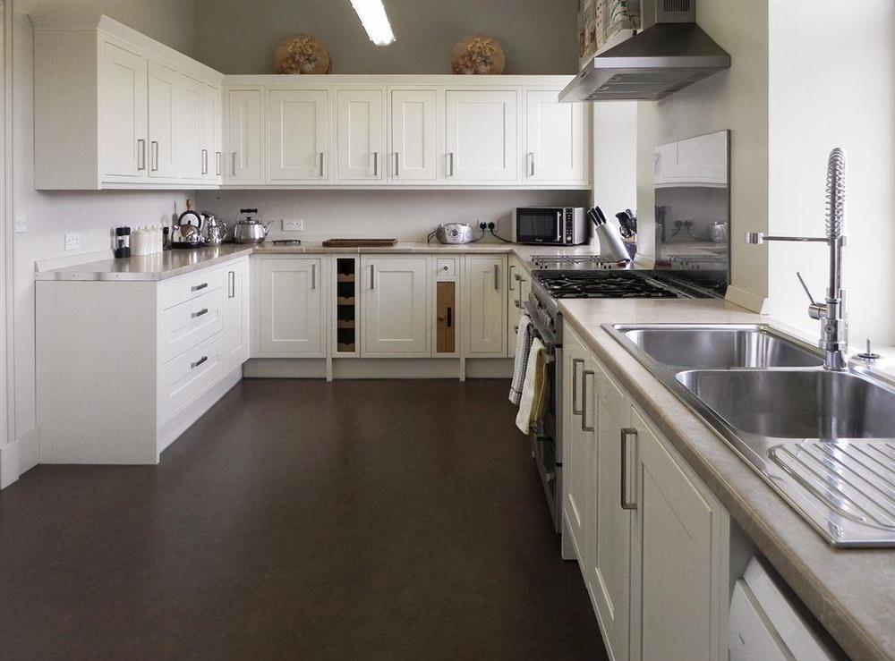 Well equipped kitchen at Inveroykel Lodge in Rosehall, near Bonar Bridge, Highlands, Ross-Shire