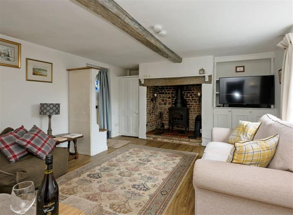 Warm and welcoming living room at Jennis Cottage in Aylsham, Norfolk