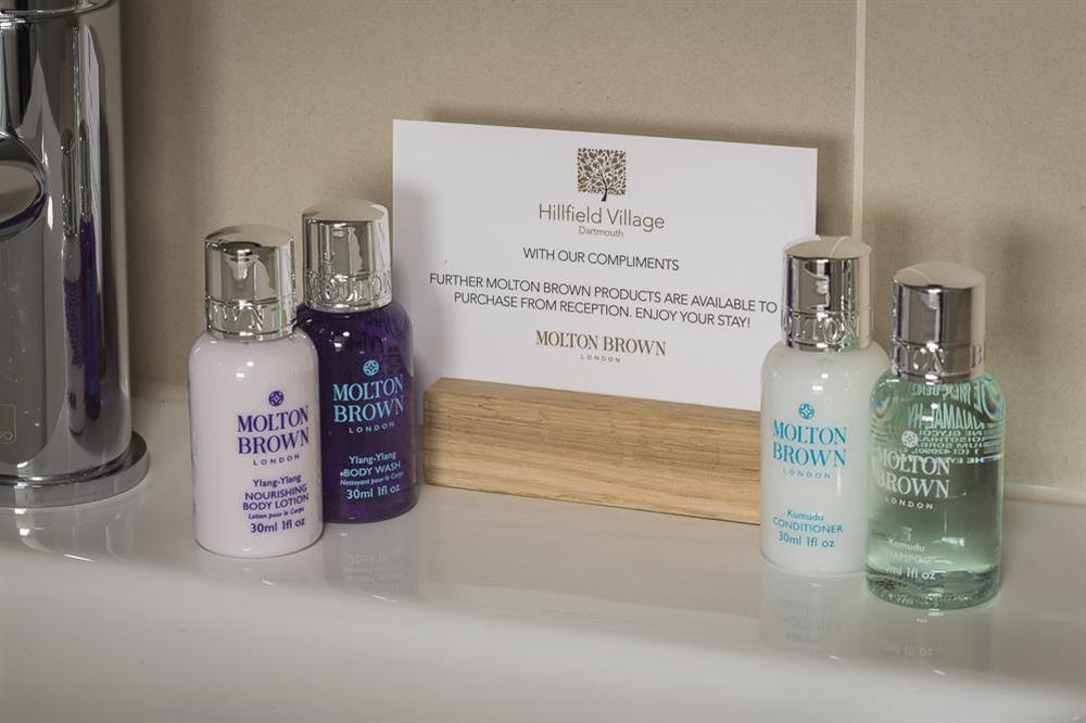 A Molton Brown toiletries gift pack is provided at Keepers Cottage 4 in Hillfield, Dartmouth