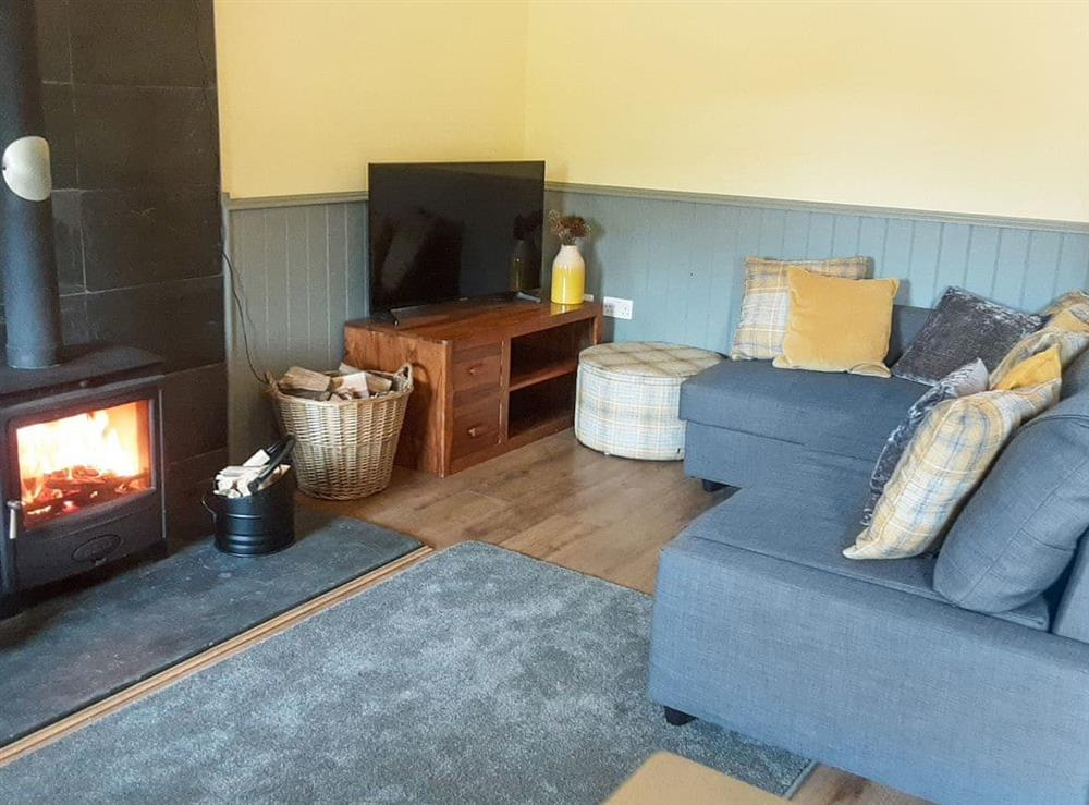 Cosy living area with wood burner at Killoch Cottage in Galston, near Ayr, Ayrshire
