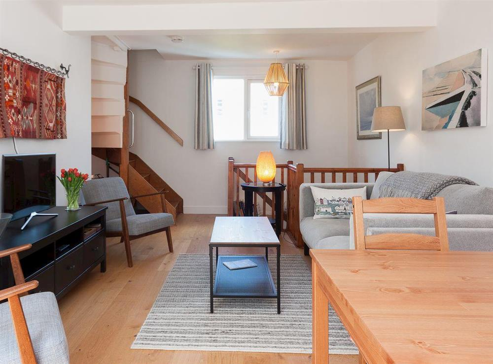 First floor open plan living area at Kitkat Cottage in Dartmouth, Devon