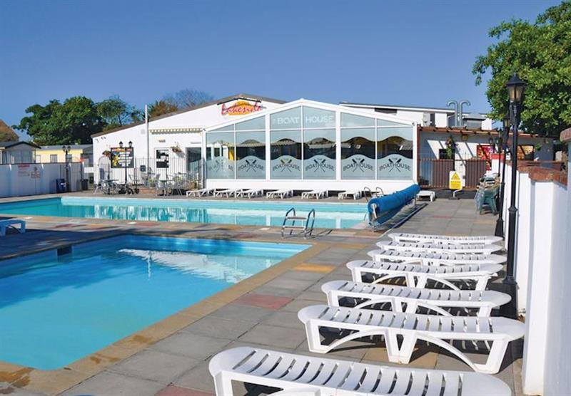 Outdoor heated pool at Lakeside Holiday Park in Burnham-on-Sea, Somerset