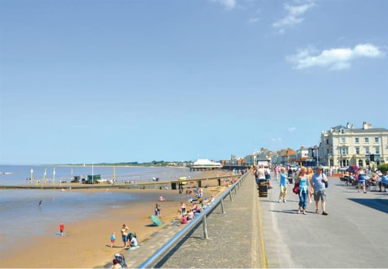 The nearby beach at Lakeside Holiday Park in Burnham-on-Sea, Somerset