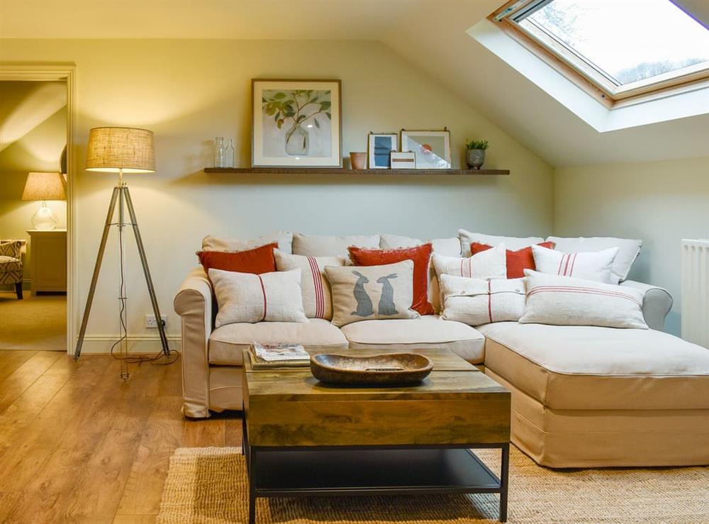 Living area at Larkhams Loft in Teffont, near Salisbury, Wiltshire
