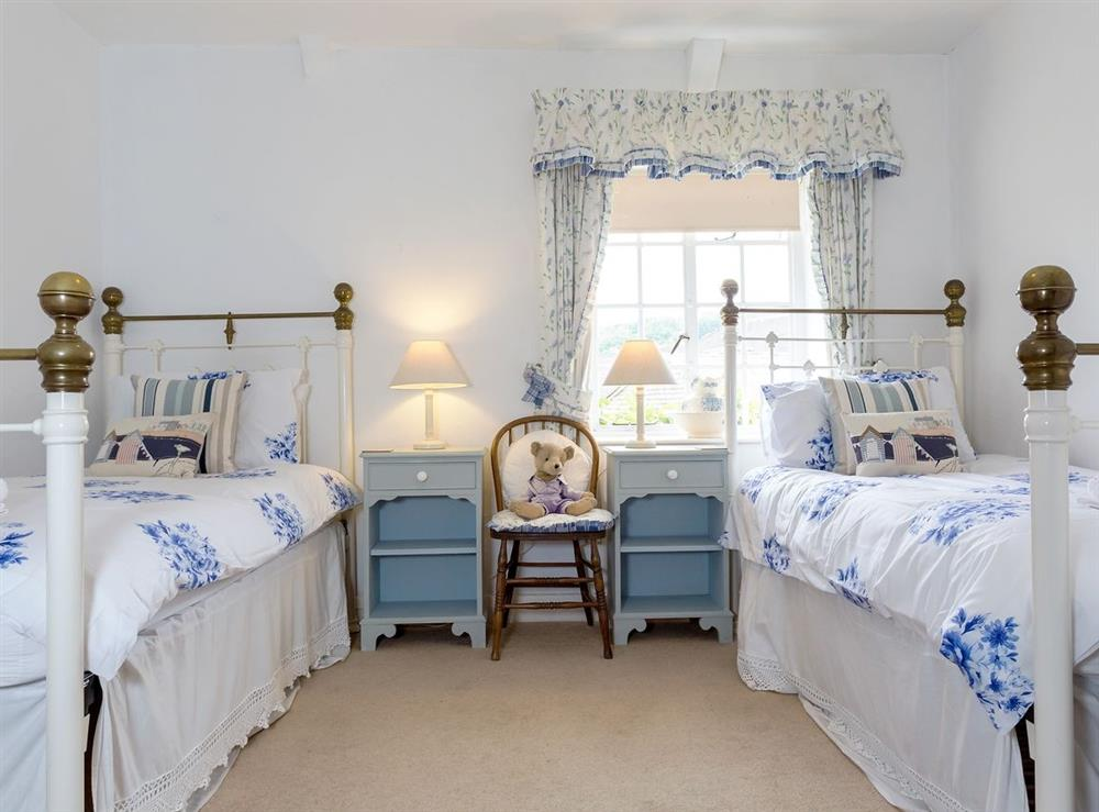 Twin bedroom at Laurel Cottage in Stoke Gabriel, South Devon., Great Britain