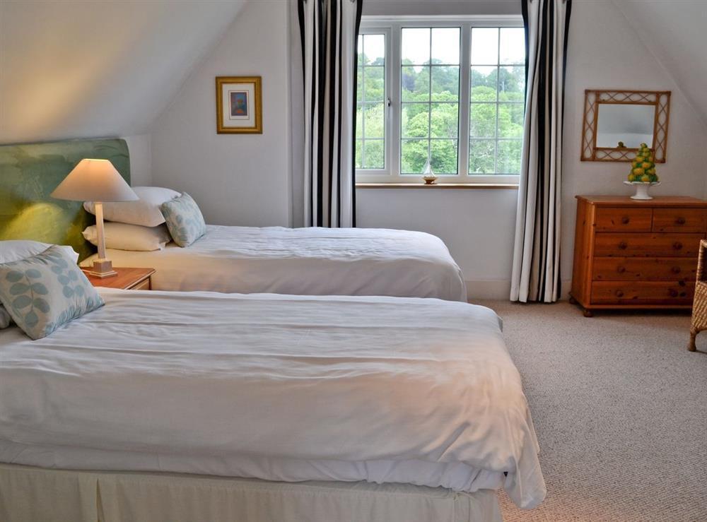 Twin bedroom at Lauriston House in Dartmouth, Devon., Great Britain
