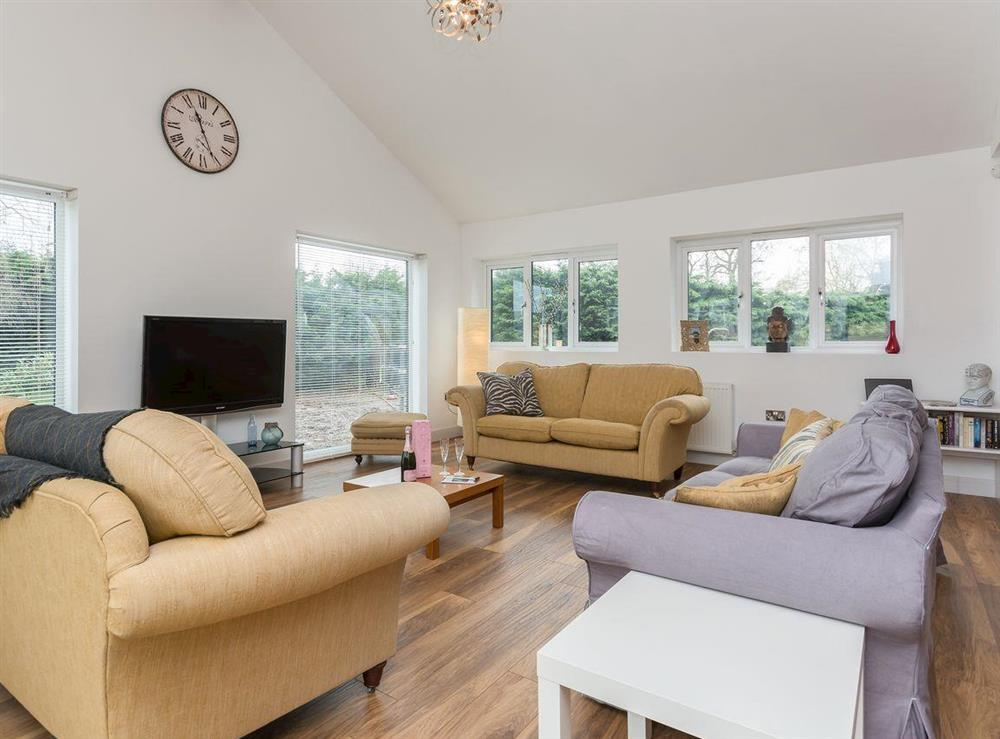 Lounge area with TV at Lavender Lea in Henley-in-Arden, Warwickshire