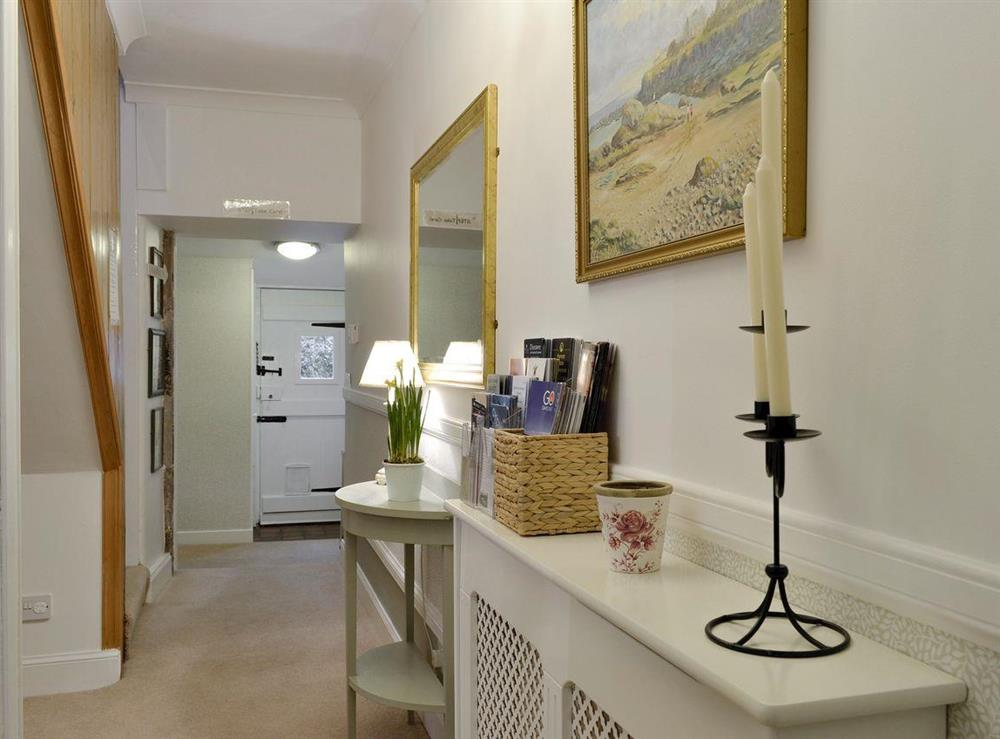 Hallway and stairs to upper level at Lilac Bank Cottage in Crosshill, near Maybole, Ayrshire