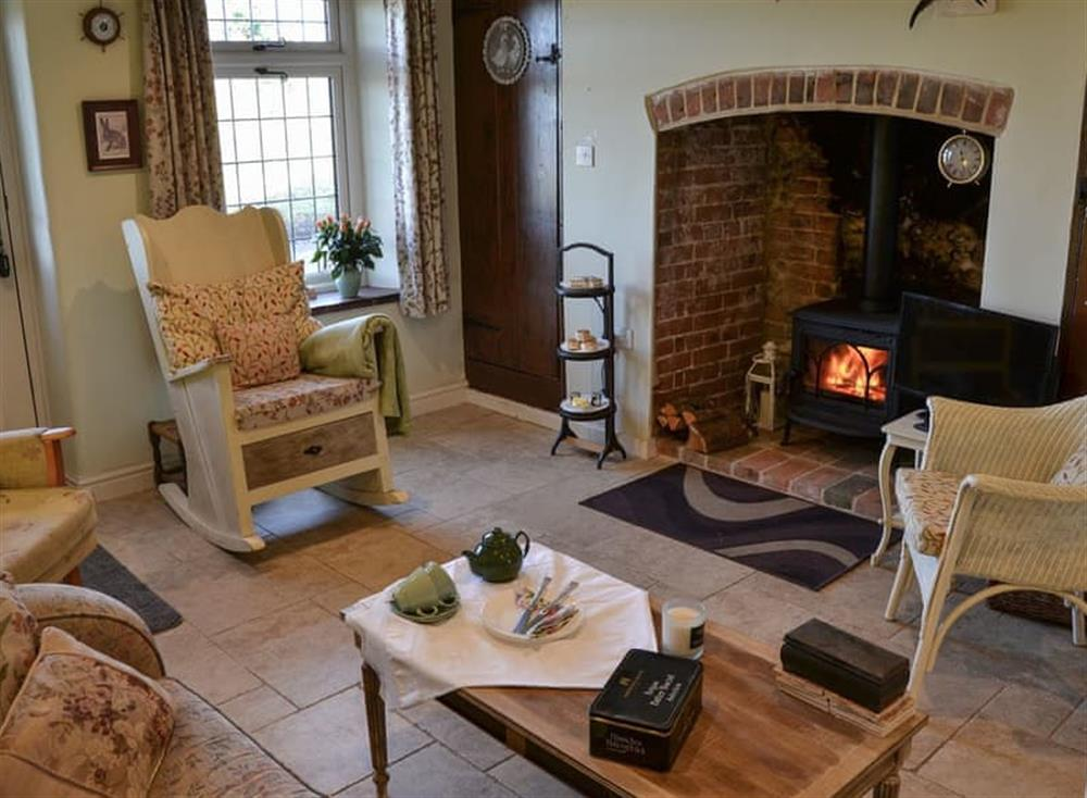 Cosy living room with wood burner at Lily Rose Cottage in Honing, near North Walsham, Norfolk