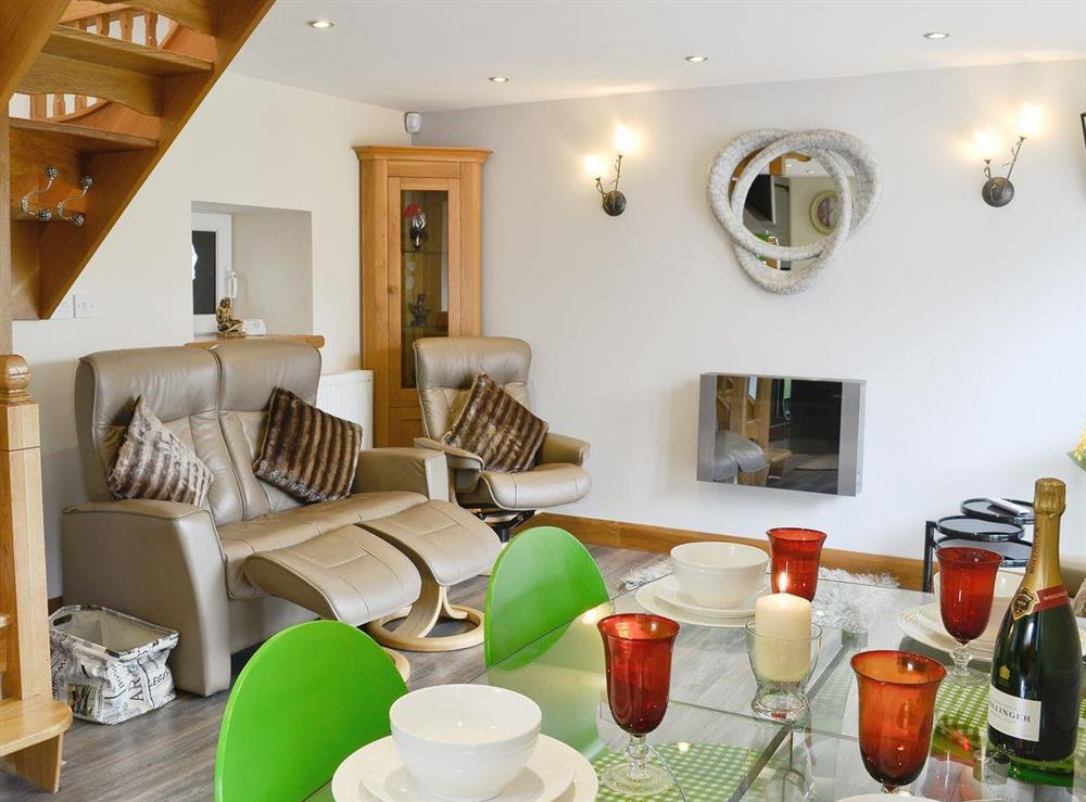 Stylish open plan living/dining room/kitchen at Lily Vale Cottage in Pontarddulais, near Llanelli, West Glamorgan