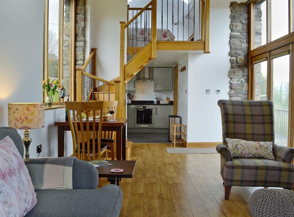 Stylishly furnished open plan living space at Little Barn in Govilon, near Abergavenny, Monmouthshire, Gwent