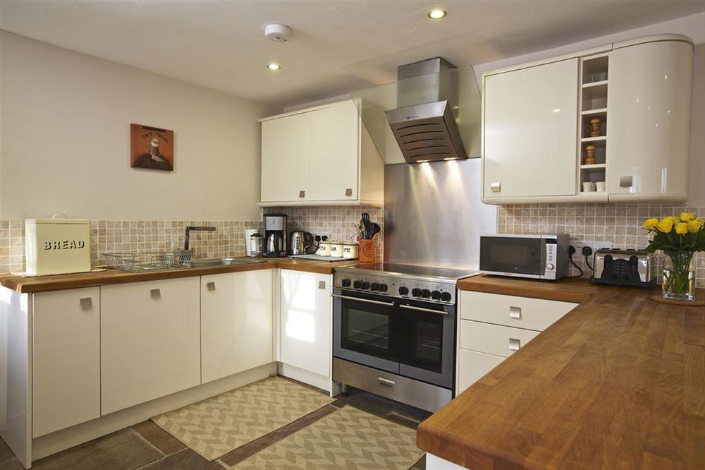 Fully equipped kitchen at Little Cotton Barn in Venn Lane, Nr Dartmouth