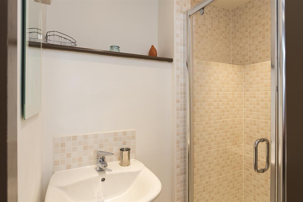 En suite shower room at Little Cotton Farmhouse in Venn Lane, Nr Dartmouth
