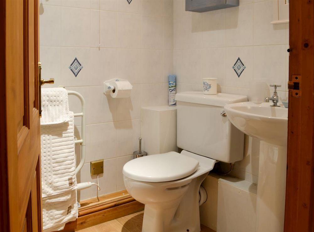 Shower room with heated towel rail at Leonards Cottage,