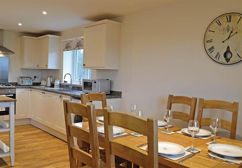 The kitchen and dining area at the Hedgehog Lodge at Little Moorland Farm Lodges in Chapel Allerton, Somerset