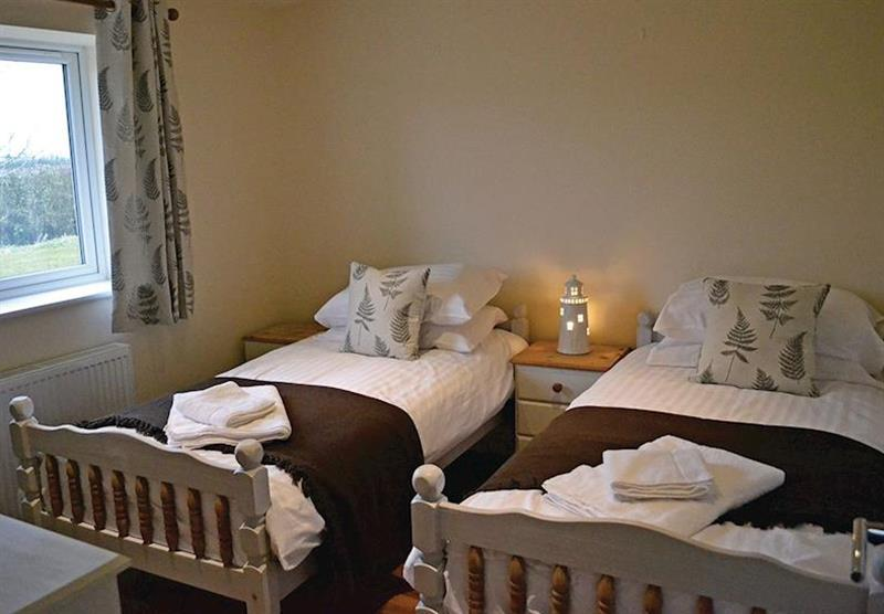 Twin bedroom in the Hedgehog Lodge at Little Moorland Farm Lodges in Chapel Allerton, Somerset