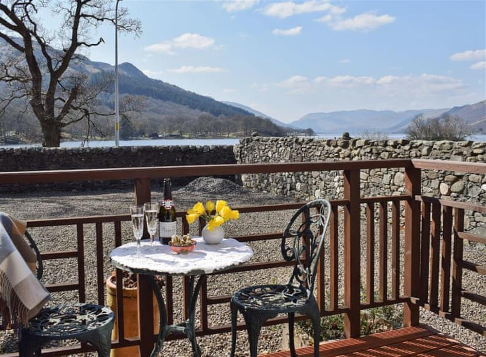 Sitting out area with stunning views at Lochearnside Lodge in St Fillans, near Crieff, Perthshire
