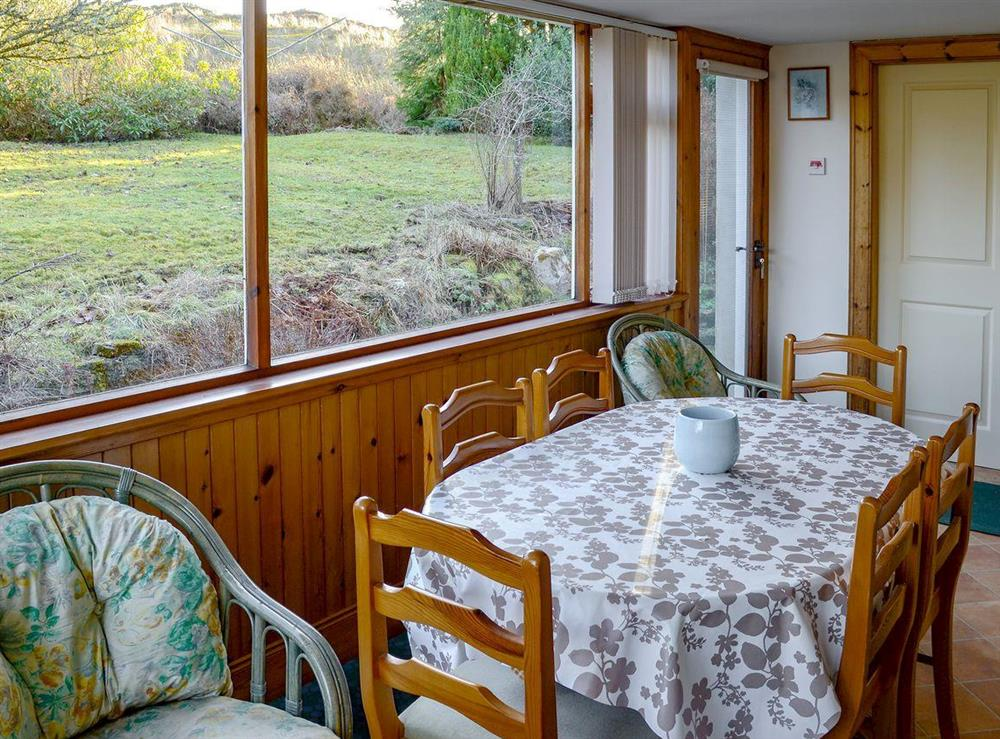 Light and airy dining room at Lower Brae in Strath Oykel, by Ardgay, Highlands, Ross-Shire