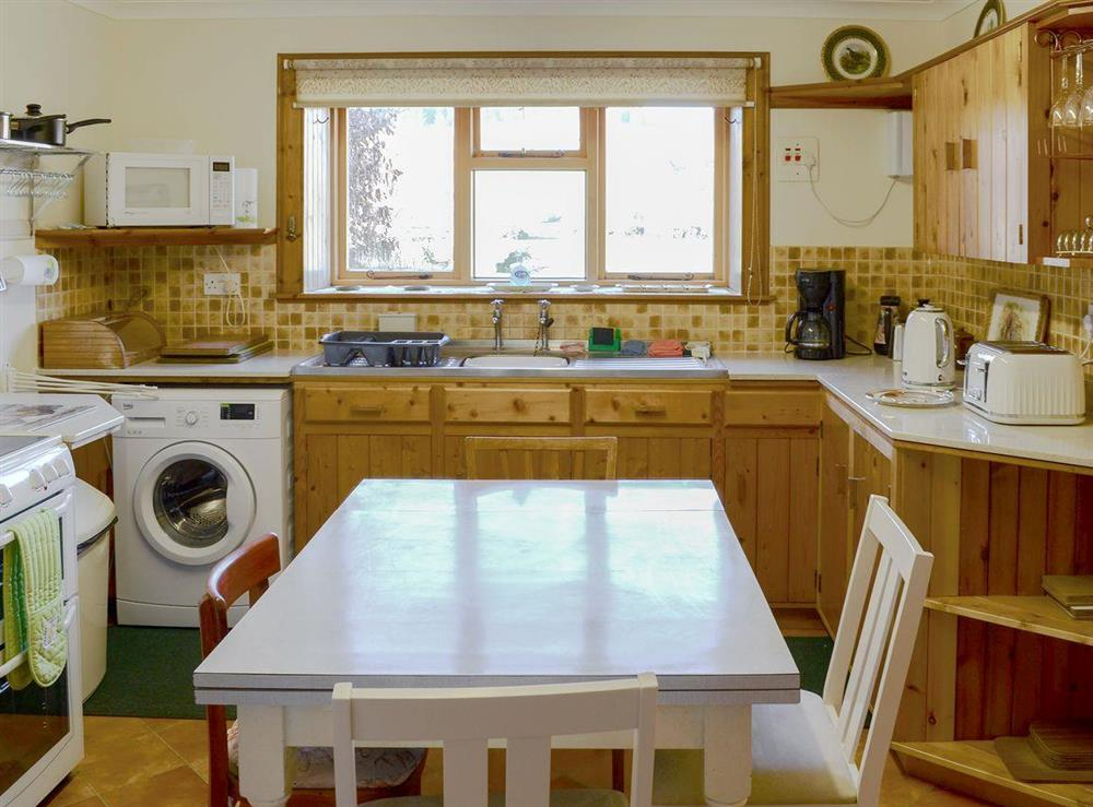 Well equipped kitchen at Lower Brae in Strath Oykel, by Ardgay, Highlands, Ross-Shire