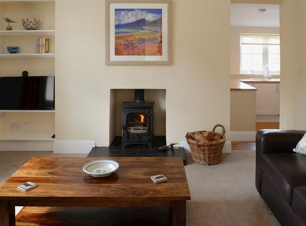 "Comfortable lounge with wood burner and 32"" Freeview TV at Maikle Cottage in Bonar Bridge, near Tain, Highlands, Ross-Shire"