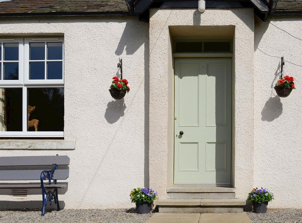Welcoming cottage entrance at Maikle Cottage in Bonar Bridge, near Tain, Highlands, Ross-Shire