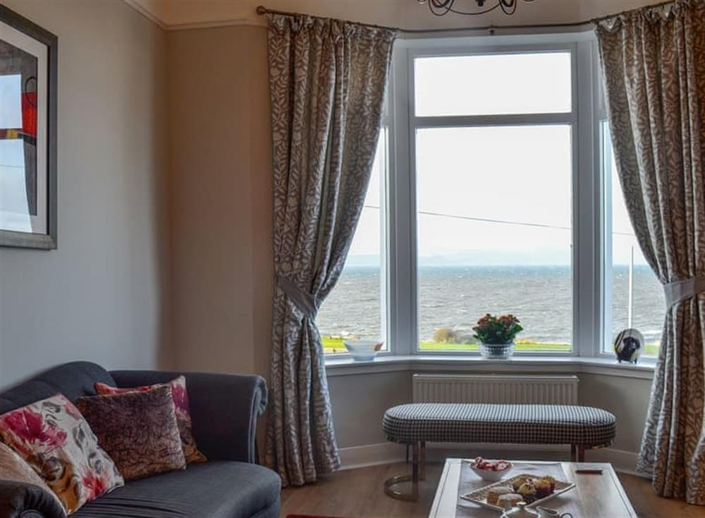 Living room with sea view at Mainslea in Dunure, near Ayr, Ayrshire