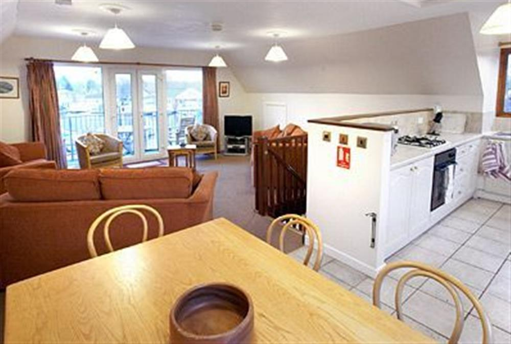 Open plan living/dining room/kitchen at Mallard in Wroxham, Norfolk., Great Britain