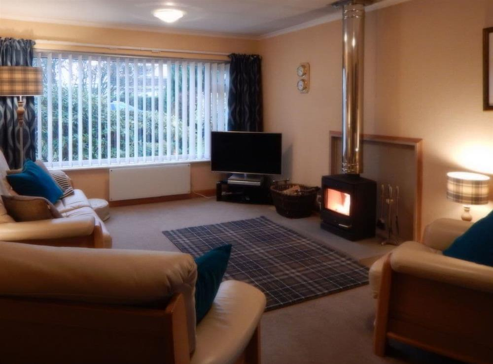 Welcoming living room with wood burner at March Brown in Garmouth, near Elgin, Moray, Morayshire