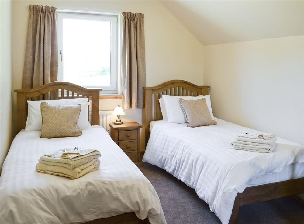 Twin bedroom at March Cottage in Glen Cassley, near Lairg, Sutherland