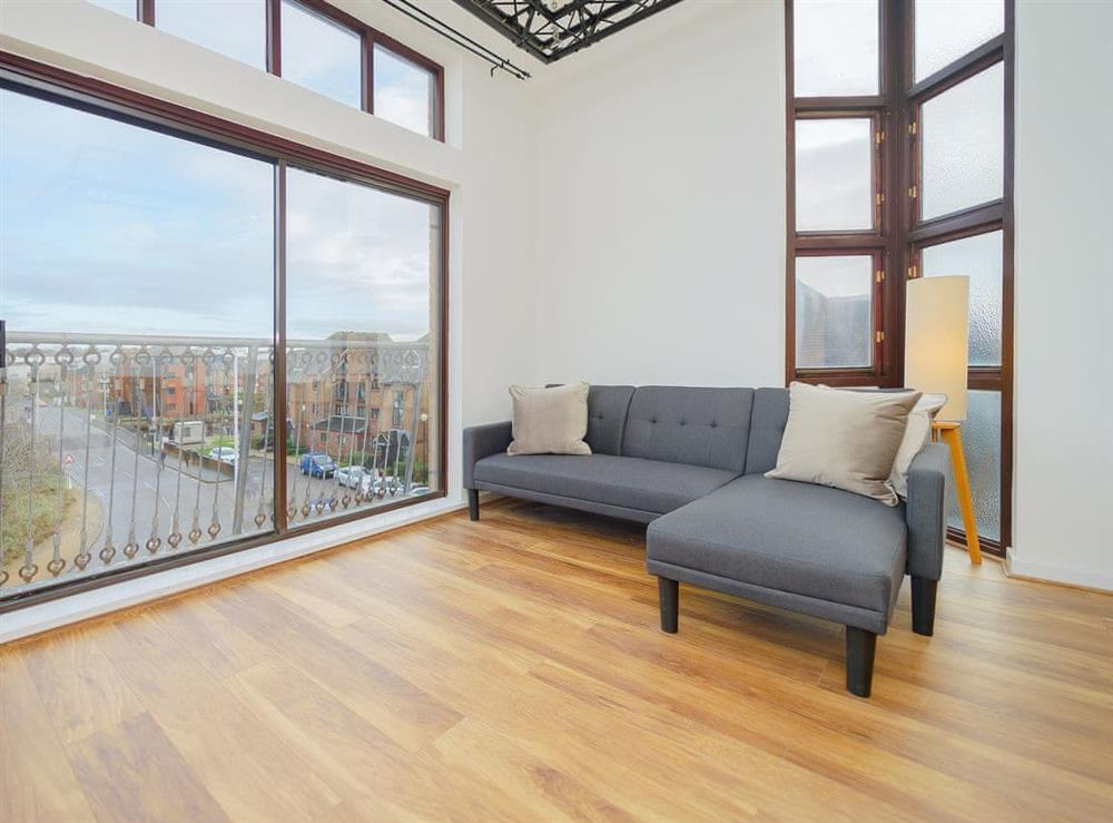 Living area at Mariners Wharf Apartment in Liverpool, Merseyside