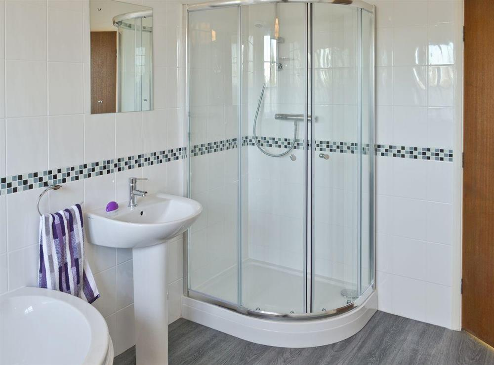 Roomy family bathroom with shower cubicle at Marsh Farmhouse in Acle, Norwich, Norfolk