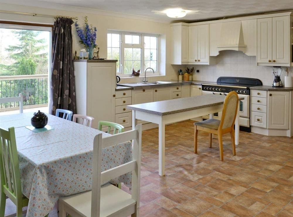 Spacious well-appointed kitchen and dining room with patio doors at Marsh Farmhouse in Acle, Norwich, Norfolk