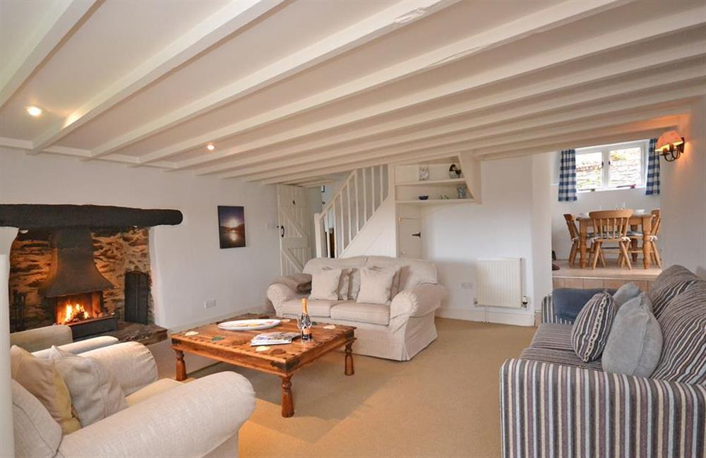 The spacious beamed lounge at Meadow View Cottage, Dittisham