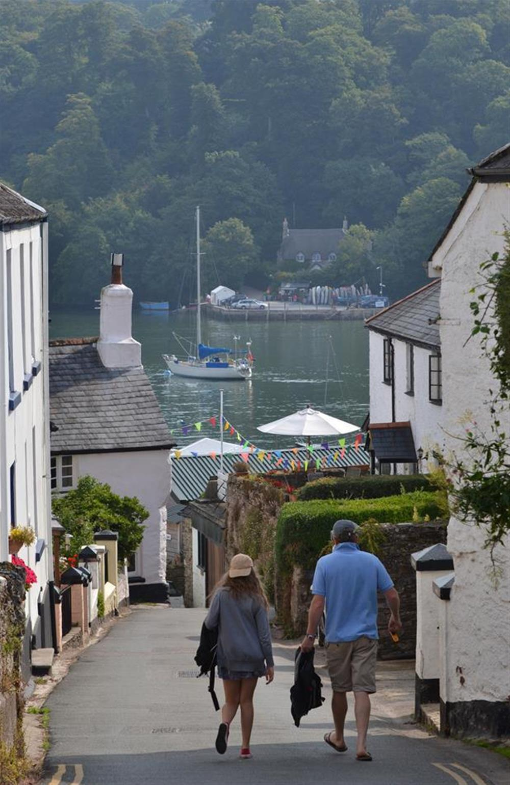Walking through the village down to the River Dart at Meadow View Cottage, Dittisham