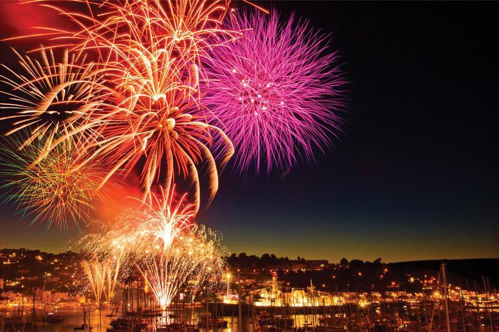 Fireworks at Dartmouth Royal Regatta (August) at Middle Watch in , Dartmouth