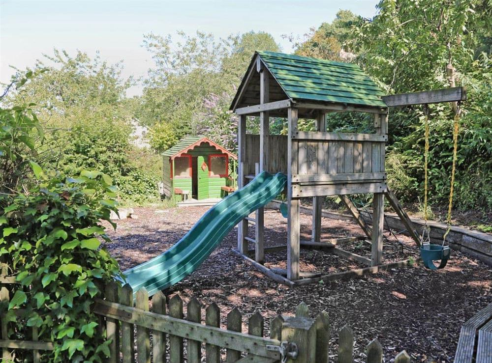 Children's play area at Mill Leat in Bow Creek, Nr Totnes, South Devon., Great Britain