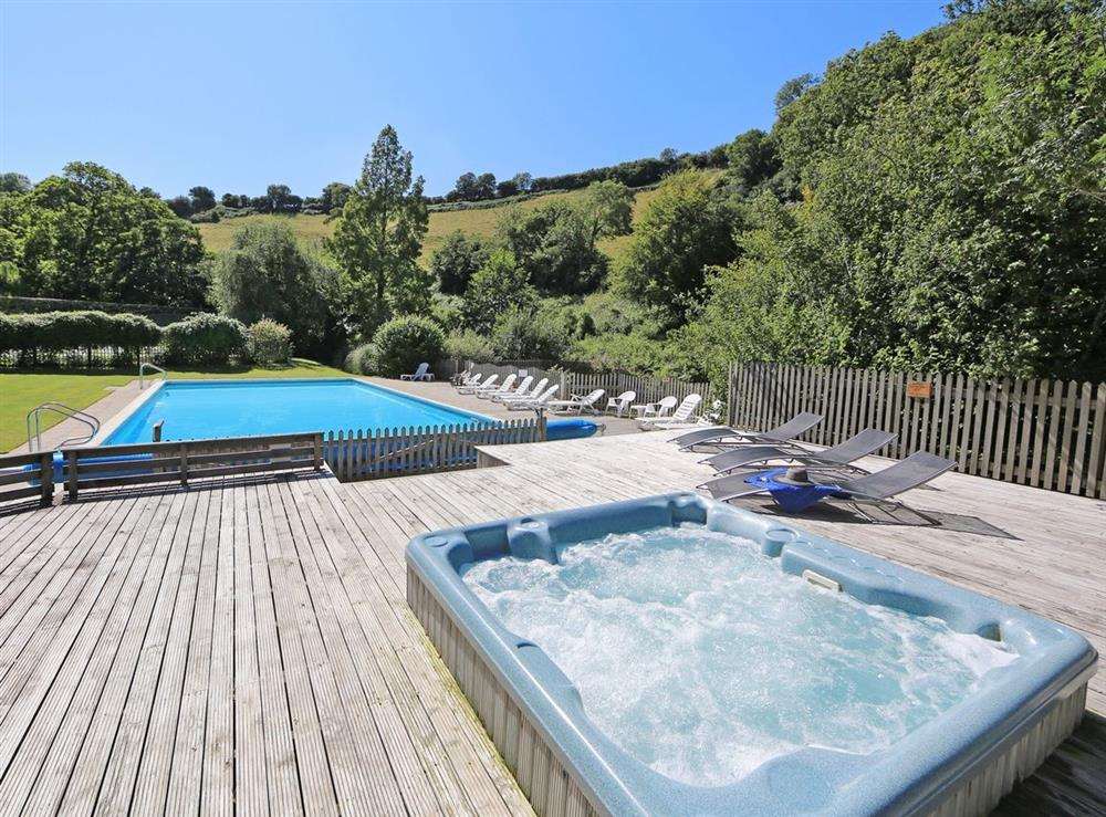 Outdoor hot tub at Mill Lodge in Bow Creek, Nr Totnes, South Devon., Great Britain