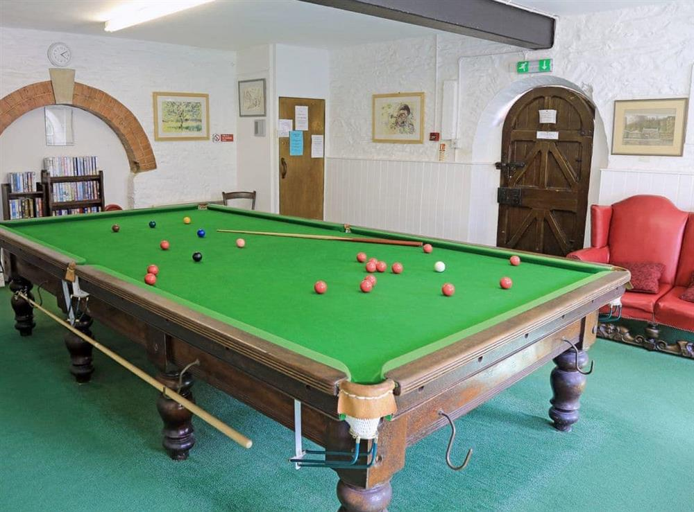 Snooker room at Mill Stream in Bow Creek, Nr Totnes, South Devon., Great Britain