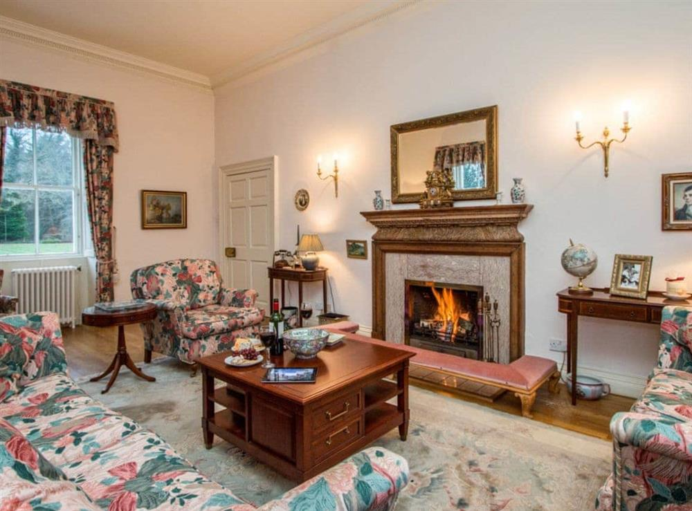 Comfortable living room with open fire at Monkwood House in Minishant, near Ayr, Ayrshire